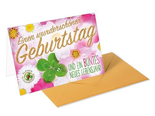 Gouden cadeaukaart/wenskaart voor verjaardag - bloemen met klaverblad