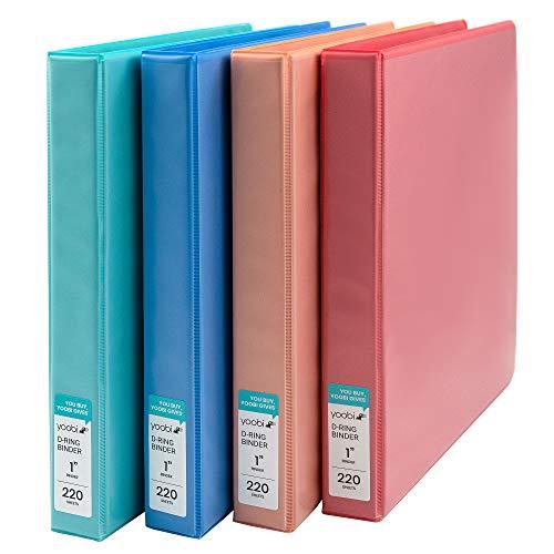 Yoobi   3-Ring Binders   1 Inch D-Ring   Solid Multicolor Variety Pack of 4