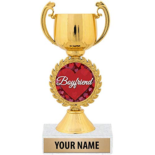 "Personalized Ideas, 7 1/4"" Best Boyfriend Award Trophy Great Customizable Gift for Him Prime"