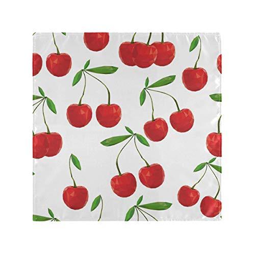 1 Pièce Doux Dîners Chic Fres Cerises Imprimer Serviettes en Tissu Linge De Table pour la Famille Banquets Mariages Parties Restaurant