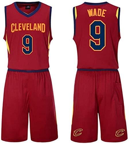 DHFDHD Jersey de Baloncesto NBA Ropa de Baloncesto, Juego de los Deportes del Chaleco Masculino, Rojo Cavaliers Jersey, Nº 23, James, Wade, N ° 9, n Camiseta de Baloncesto