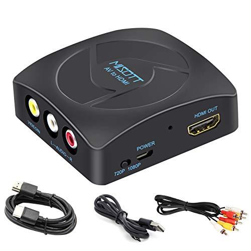 MISOTT - Conversor de RCA a HDMI con cables HDMI y RCA, adaptador RCA HDMI, conversor de CVBS AV a HDMI, convertidor de compuesto a HDMI Video Audio Adaptador (1080P)