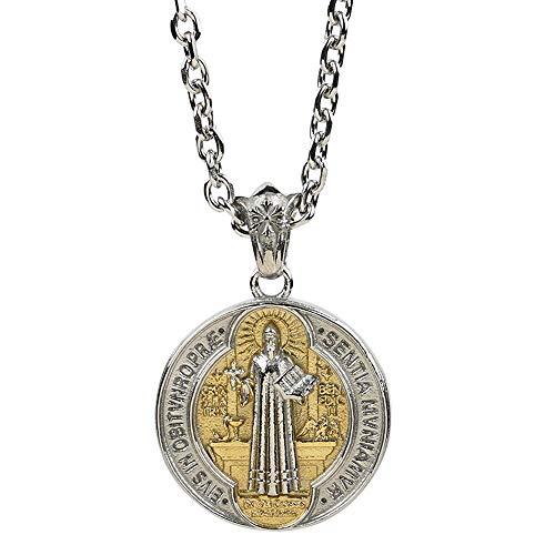 FORFOX Collar Colgante Medalla de San Benito católico de Ac