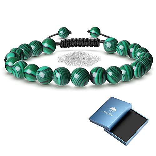 Pulsera de piedra natural, regalo para hombre, pulsera de piedra de protección, regalo de papá, mujer, ajustable, pulsera de perla para hombre, 8.5 pouces, Piedra Vidrio Plástico Nailon,
