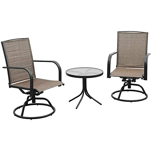 AlphaBaby 3PC Swivel Patio Bistro Set 2 Brown Chair Set W/Glass Top Coffee Table