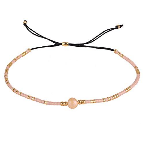 KELITCH Armband Damen Frauen Gold Rocailles Perlen Schwarz Zart Schnur Freundschaftsarmbänder mit Perle Strangarmband Armbänder Männer