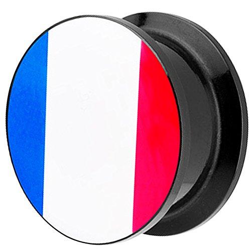 Piersando Piercing Ohr Plug Flesh Tunnel Fahne Motiv Fussball EM & WM Länderflagge Fanartikel Land Flagge Schmuck Frankreich 18mm