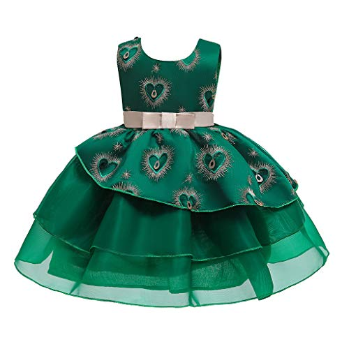 SKays Mädchen Prinzessin Brautjungfern Festzug Kleid Geburtstagsfeier Blumenmädchen Hochzeitskleid Cocktailkleid Mädchen Ärmellos Festzug Prinzessin Ballkleider (Grün,130)