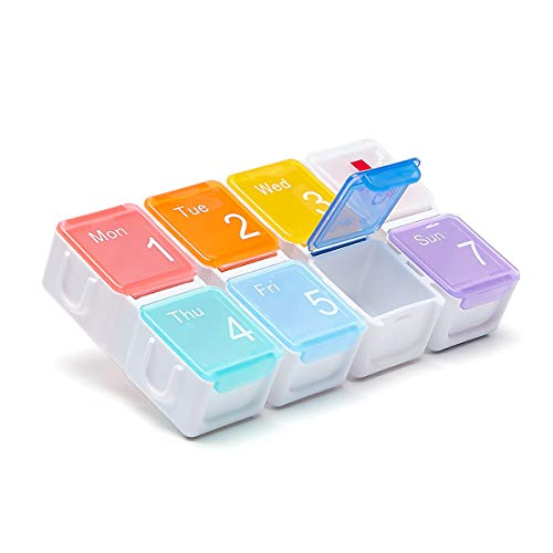 Portable Weekly 7Day Pill Organizer Daily Pill Box with MoistureProofPill Case Large Compartment to Hold VitaminsFish OilSupplements and Medication  Great for Travel