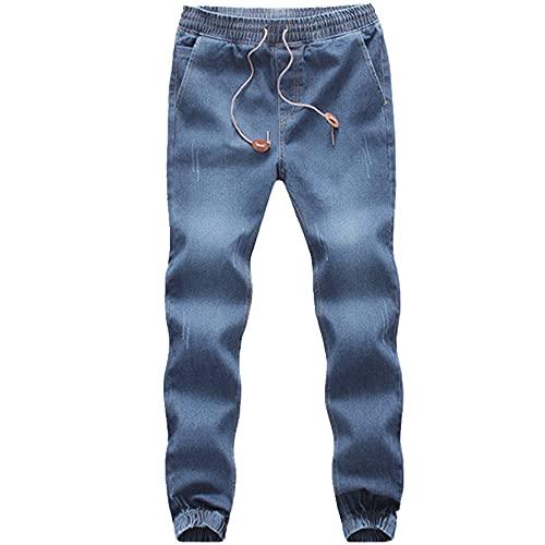 N\P Pantalones sueltos de gran tamaño de los pantalones vaqueros de la cintura elástica de