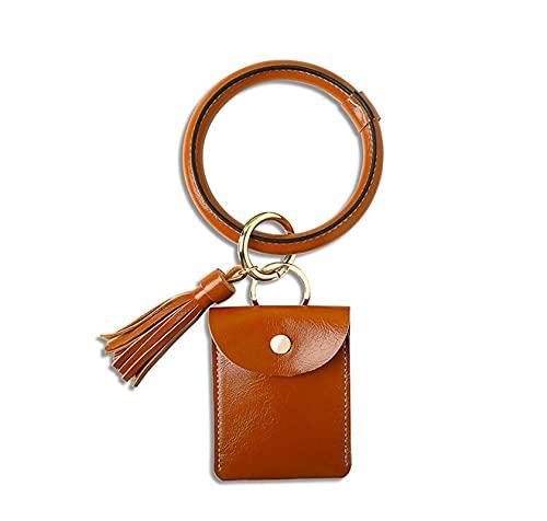 GUANGMING ZhengFeng Shop Multifechain Llavero Key Anillo y Tarjeta Cartera PU Cuero O Key Ring con Bolsa de Pulsera a Juego para Mujeres niñas (Color : Dark Blue)