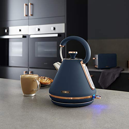 Tower Cavaletto Pyramid Kettle 1.7 L - Midnight Blue and Rose Gold