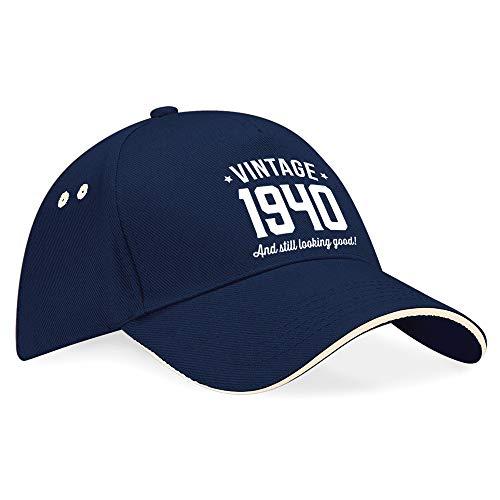 80. Geburtstag, 80. Geburtstag Geschenk, 80. Geburtstag Geschenke für Herren, 80. Geburtstag Geschenke für Frauen Geburtstag, Vintage, hat, Baseball Cap, Textil, Navy