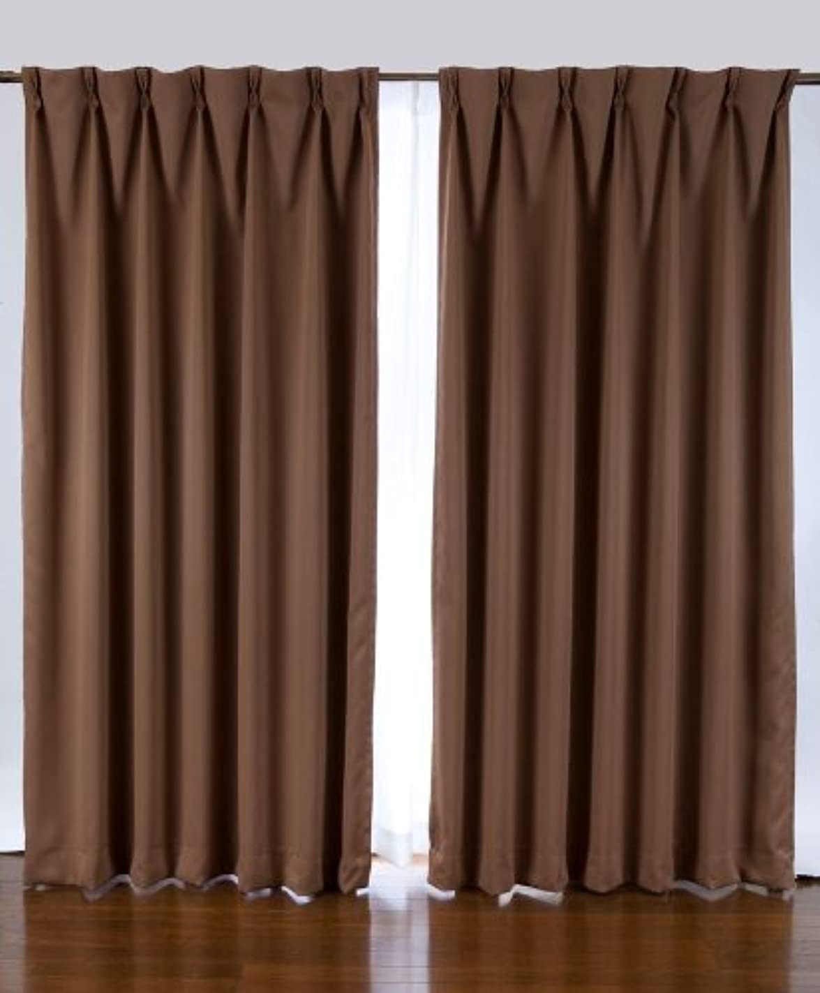 妨げる肯定的ダメージ1級遮光カーテン 2枚入り ブラウン巾100X丈110