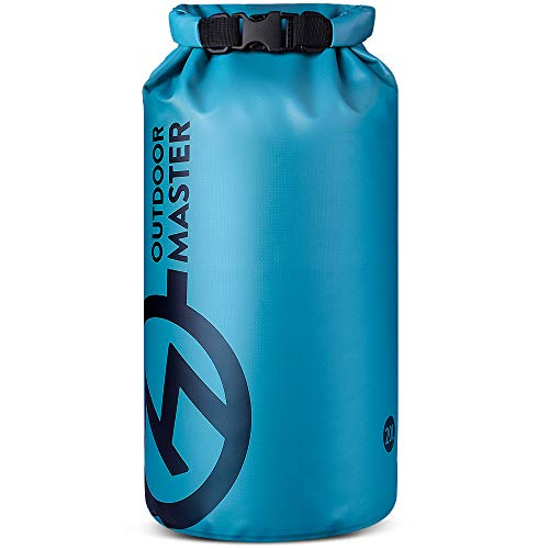 OutdoorMaster Dry Bag Seal - Waterproof Floating Roll Top Dry Sack for Boating, Kayaking, Fishing, Swimming, Surfing, Rafting - Olympic Blue-Big Logo, 20L