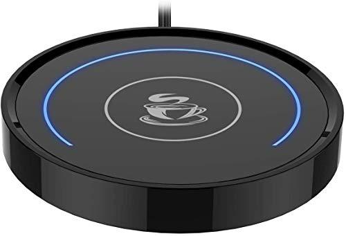 Calentador de taza de café, taza de café y calentador, termostato, para bebidas calientes, oficina o escritorio, uso con interruptor de gravedad, encendido / apagado automático, indicador LED (azul)