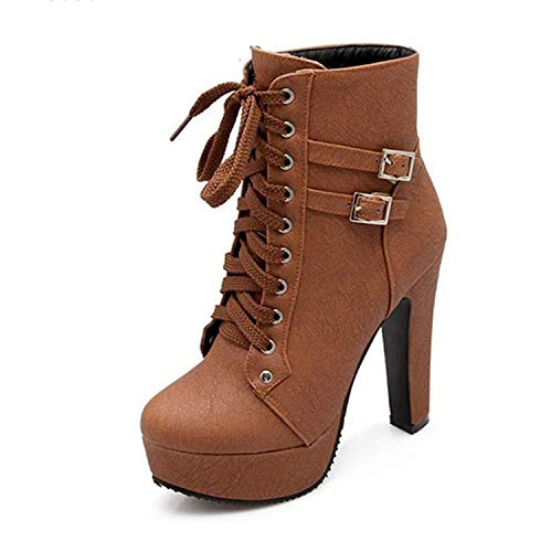 rose flowers Plus Size Ankle Boots for Women Platform High Heels Female Lace Up Shoes Woman Buckle Short Boot Casual Ladies Footwear,Brown,10