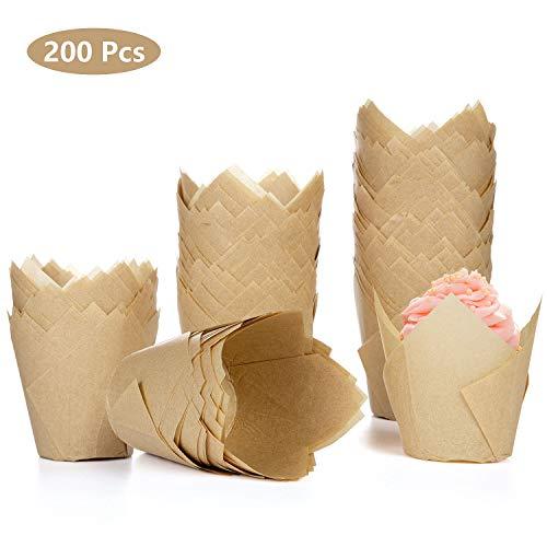 Diealles Shine 200 Stück Tulpen-Backförmchen, Tulpen Backpapier Schalen Papier Cupcake Wrapper Papier Kuchen Cup Muffin Einlagen Papierförmchen für Dessert Muffins, Natürlich