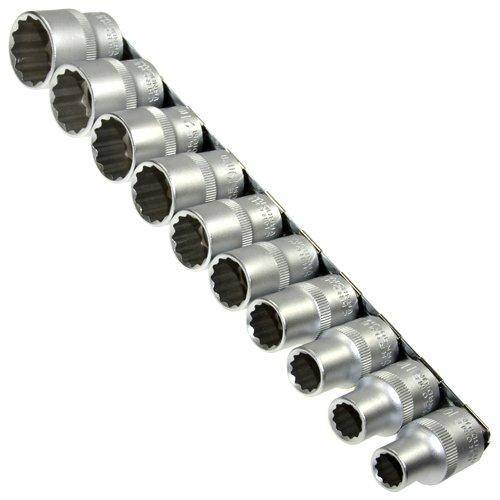 10 x dopsleutelinzetstukken/schroevendraaier-inzetstukken 12-kant/tulpkant 1/2 inch veeltand (dubbele zeskant/dubbele 6-kant) 10-24 mm moer op stekkerdoos van chroom-vanadium-staal