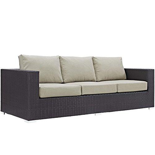 Modway Convene Wicker Rattan Outdoor Patio Sofa in Espresso Beige