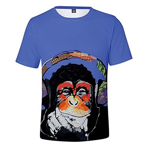 YJXDBABY-Big Face Orangutan-Camiseta De Manga Corta para NiñOs, Divertida Y Fresca Camiseta De Verano, Ropa para NiñOs, Informal Y Transpirable-150