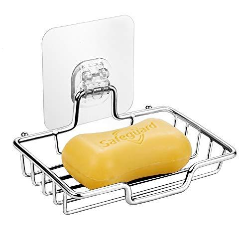 Wangel Seifenschale Seifenhalter ohne Bohren, transparent Klebestreifen Pads, Edelstahl, Poliertes Finish