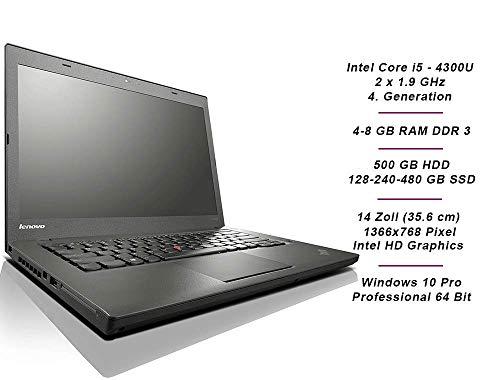 Lenovo ThinkPad T440 Business Notebook, Intel i5 2 x 1.9 GHz Prozessor, 8 GB Arbeitsspeicher, 500 GB, 14 Zoll Display, 1366x768, Cam, Windows 10 Pro, 1H08 (Generalüberholt)