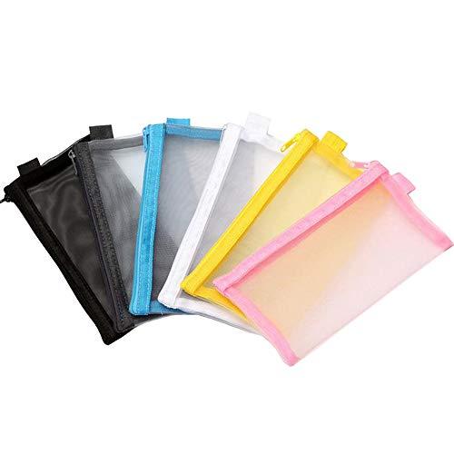yyuezhi Estuche Transparente de 6 Piezas Archivo Documentos de Plástico con Malla para LápicesBolsa de Papelería de Malla Transparente de Alta Calidad para Guardar Artículos de Papelería o Cosméticos