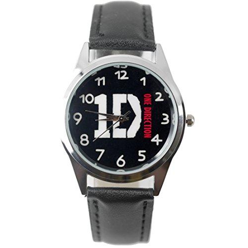 Taport® 1D One Direction quarzo Orologio rotondo nero in vera pelle Band