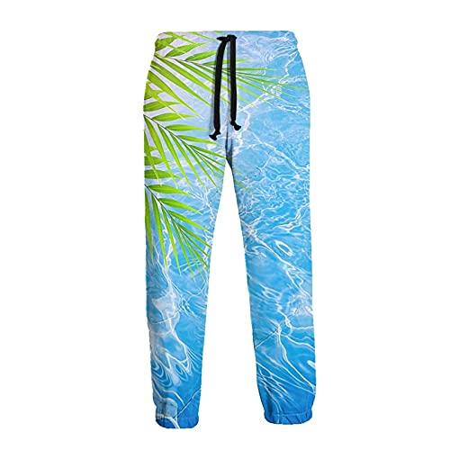 136 Pantalones de chándal para hombre, Palma Hojas En Azul Mar Joggers Pantalones Deportivos Casual Pantalones Deportivos para Hombres para Ejercicio