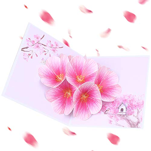 Infgreate -Valentine's Day Present3D Pop Up Peach Blossom Flowers Festival Birthday Party Invitation Greeting Card - Pink