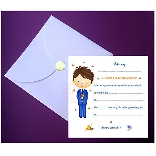 Invitaciones para Primera Comunión Niño -Sobre de Luxe en forma de Pétalo - (20 Invitaciones + 20 Sobres Pétalo + Regalo de 20 Mini-Sobres Pétalo) ¡Sus Amiguitos Alucinarán!