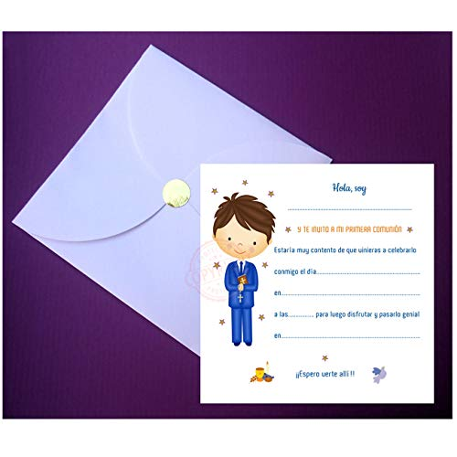 Invitaciones para Primera Comunión Elegantes con Espectacular Sobre en Forma de Pétalo - ¡Sus Amiguitos Alucinarán! - (20 unidades)