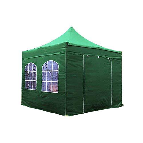 TOOLPORT Tente Pliante Barnum Pliant pavillon 3x3 m avec fenêtres en Polyester imperméable Tente de réception Vert