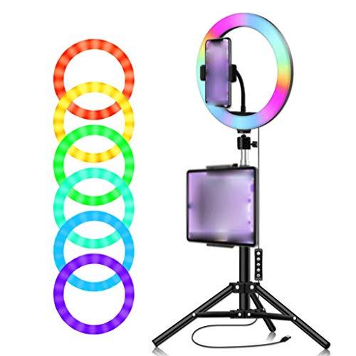 Escritorio 10'RGB Selfie Luz de Anillo, LED Ringlight 2700K-6500K con Soporte de Trípode 2 Titular de Teléfono Celular para Transmisión en Vivo Grabación de Video Universal (tamaño : 10in W 1.3m)