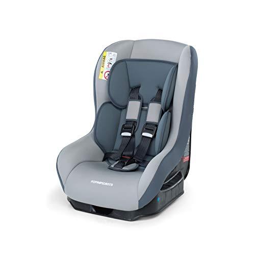 Foppapedretti Go! Evolution, Seggiolino auto Gruppo 0/1 (0-18 Kg) per Bambini dalla Nascita Fino a 4 Anni Circa, Grigio (Argento)