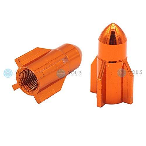 YOU.S Alu Ventilkappen Rakete Orange Ventil Kappen Abdeckung für Auto PKW LKW Motorrad Fahrrad (2 Stück)