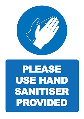 2 x Por favor use desinfectante de manos proporcionado – señal de seguridad vertical de distancia social etiqueta autoadhesiva vinilo resistente a la intemperie – 200 mm x 300 mm – (SC-37)