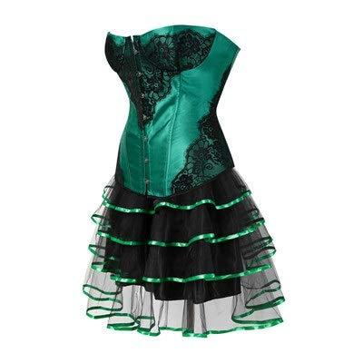 TWGDH Corset Sexy Vintage Dentelle Corset et Bustier avec Jupe for Les Femmes Amincissants Halloween Poison Ivy Costume Plus Size (Color : Green, Size : XXL)