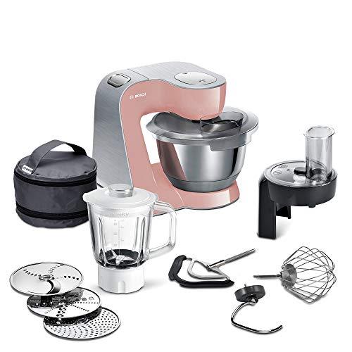 Bosch MUM5 CreationLine Premium Küchenmaschine MUM58NP60, vielseitig einsetzbar, große Edelstahl-Schüssel (3,9l), Profi-Patisserie-Set, Durchlaufschnitzler, Glasmixer, 1000 W, rosè/silber