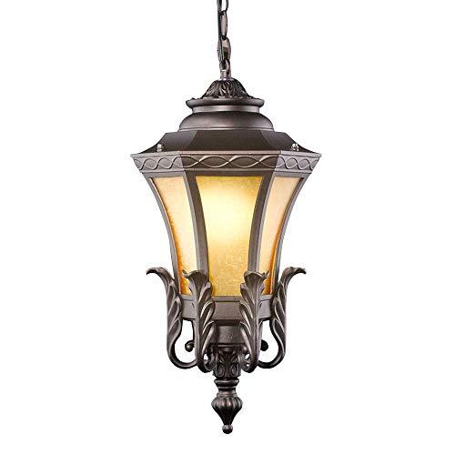 YUNTAO Lámparas decorativas Lámpara colgante al aire libre de la vendimia impermeable IP44 Luz de suspensión moldeada cubierta de aluminio y Cortina de cristal Diseño externa Lámpara colgante E27 Gaze