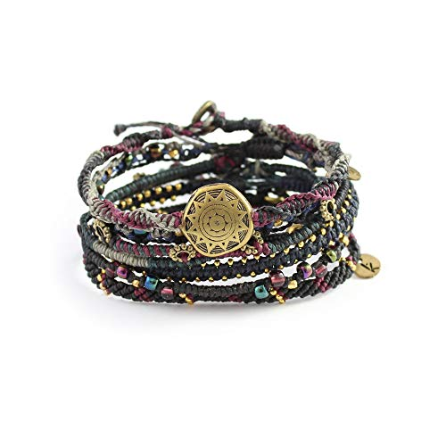 Wakami Earth Charm Bracelet Set of 7 | Handmade Boho Jewelry for Womens & Mens | NIGHT | Braided, Waterproof, Stackable Bracelets | Sliding closure on 3 strands, and button closure on 4 strands