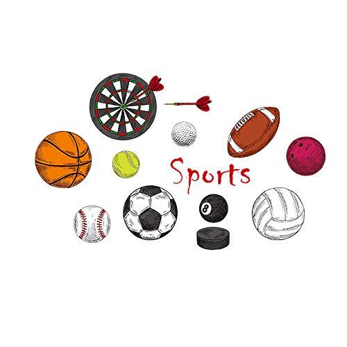 WJY Sport Ball Fußball Basketball Volleyball Schlafsaal Wandaufkleber Dartscheibe Tennis Klassenzimmer Anordnung Aufkleber102x62cm