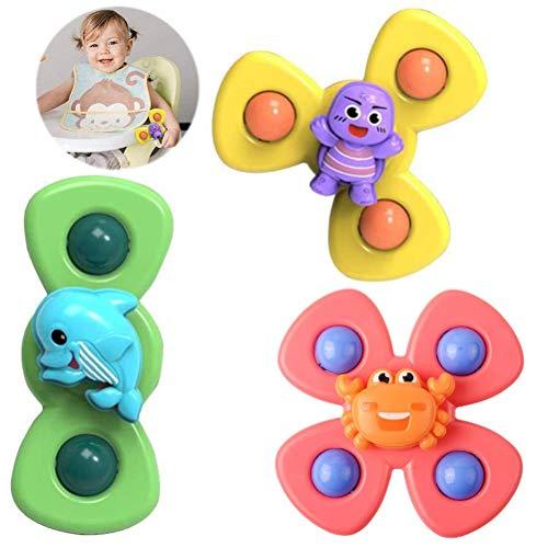 Vssictor Juguete giratorio con ventosa, 3 piezas para bebé, juguete giratorio con ventosa giratoria, juguete seguro e interesante para jugar a la mesa temprana juguetes para bebés niños y niñas