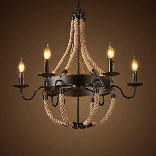 FDABFU Lampade a Sospensione Rotonde da Campagna a 6 luci Illuminazione da Cucina, lampadario Vintage in Metallo Antico e Candela in Corda