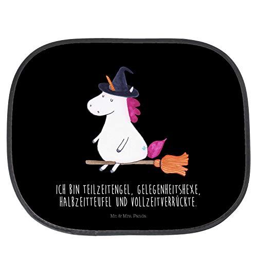 Mr. & Mrs. Panda Rücksitz, Geschenk, Auto Sonnenschutz Einhorn Hexe mit Spruch - Farbe Schwarz