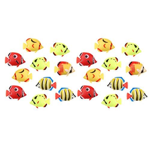 POPETPOP- 20Pcs Aquarium Künstliche Fischdekorationen Dekorative Lebensechte Schwimmende Fische Plastikfisch für Heimaquarium Aquarium (Zufälliger Stil)