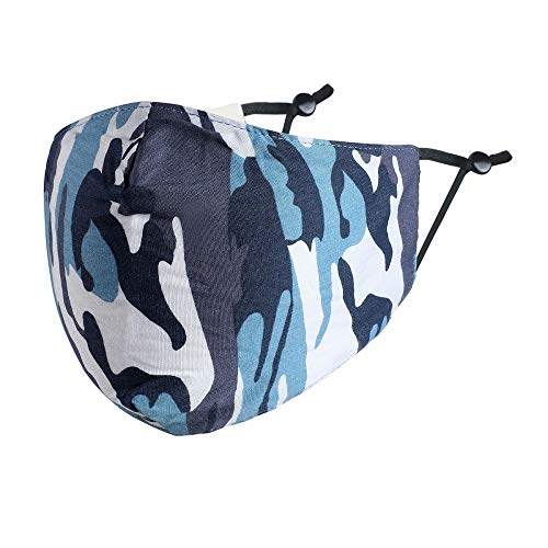 Mund-Nasen-Maske Behelfsmaske Camouflage Tarnmuster Flecktarn 100% Baumwolle 3 Farben Farbe Blau