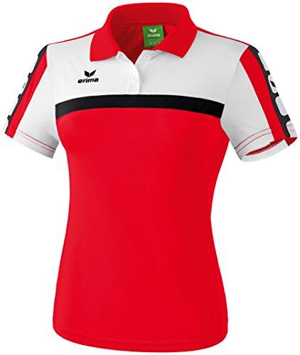 Erima Damen Classic 5-C Poloshirt, rot/weiß/schwarz, 44