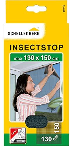 Schellenberg 50715 Mosquitera, protección Anti Insectos y Moscas para Ventanas, Lavable, sin taladros, MAX. 130 x 150 cm, Antracita